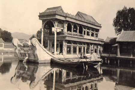 The Marble Boat In The Lake At The Summer Palace. The Hull Is Marble.